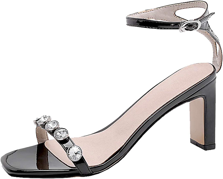 Artfaerie Womens Rhinestone Open Toe Thick High Heel Sandals Jeweled Summer shoes