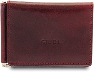GIUDI ® Portafoglio uomo in pelle vacchetta, vera pelle, moneyclip, Made in Italy (Bordò)