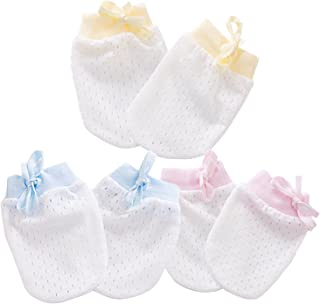 Kalevel 3 Pairs Newborn Baby Mittens No Scratch Baby Cotton Gloves 0-12 Months