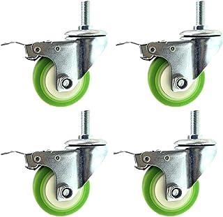 Caster wielen 75mm/100mm/125mm, wivel wiel Heavy Duty met remmen, 360 ° roterende schroefdraad staaf, set van 4 groen, cap...