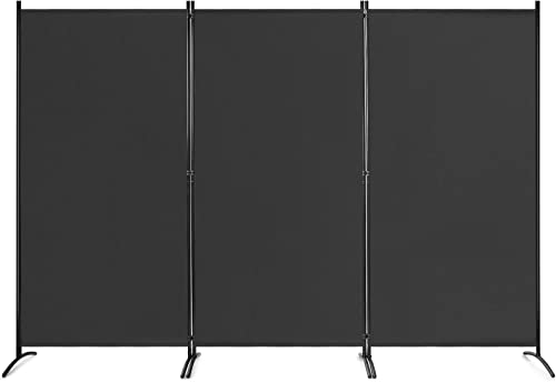 2021 Giantex 6 Ft 3 Panel Room Divider, Folding Portable Privacy Screen w/ Durable Hinges Steel discount Base, Freestanding Partition Protective Wall sale Furniture, Wall Divider for Home Office Dorm Restaurant (Black) online