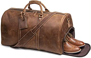 LeatherFocus Mens Leather Travel Bag, Leather Weekend Bag Duffle Overnight Carry on Luggage (Brown)
