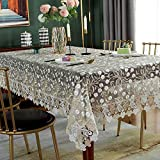 SUTAVIA Lace Embroidered Table Cloth, Classic Rectangular Oblong Macrame Table Cover, for Kitchen Dining Picnic Coffee Table and Wedding Banquet Home Decoration (Gold, 60'×84') …