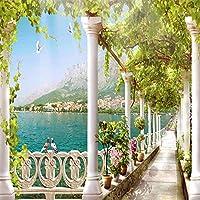 カスタム写真壁紙3Dスペースバルコニー湖の風景壁画リビングルーム寝室壁画壁紙家の装飾-400x300cm