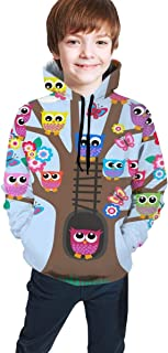 Cyloten Kid's Sweatshirt Funny Owl Butterfly Tree Novelty Hoodies Comfortable Warm Hooded Top Sweatshirt