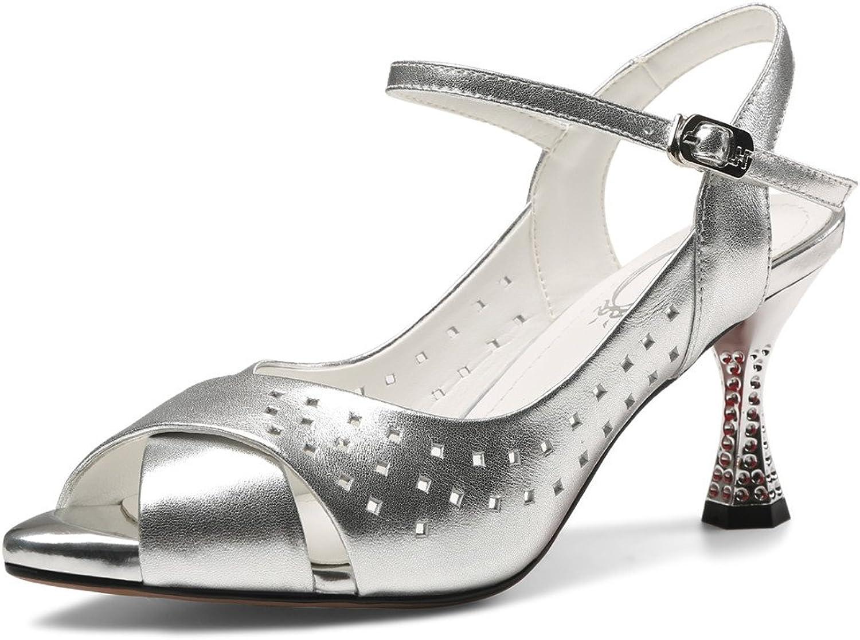Nine Seven Genuine Leather Women's Peep Toe Stiletto Heel Ankle Strap Handmade Drees Pumps Sandals