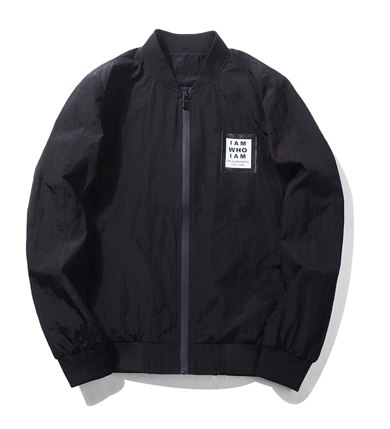 UNbox-HT Mens Coat Bomber Windbreaker Mandarin Collar Solid Jacket
