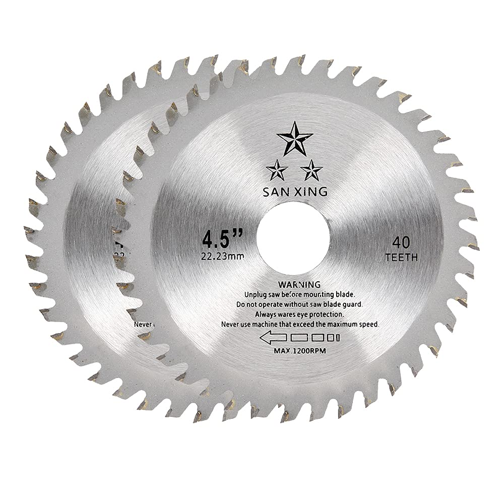 Hoja para sierra circular para madera, 115 x 22,2 mm, 40 dientes TCT Disco corte de carburo Hoja para amoladora angular para madera y plástico