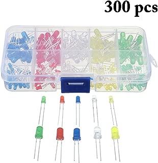 300PCS Led Diode, Outgeek 5 Colors 3mm 5mm LED Emitting Diode Light Bulb Lamps Assorted Kit Electronics Component