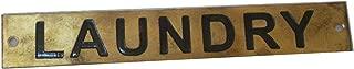 "Marine Brass Door Sign Board - Door Plaque - Engraving - Boat Nautical Navy Yacht Home Decor (Laundry - 5"" x 1"" Inches (228))"