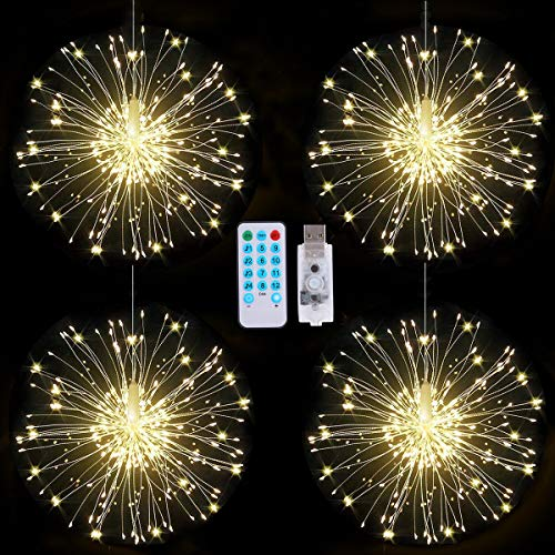 Christmas Tree Decorations Firework Lights, 4 in 1 Starburst String Lights USB Rechargeable Fairy Lights with Remote, 4 Music 8 Lighting Modes Waterproof Decorative Lights for Christmas, Patio, Party