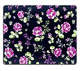 MSD-Tappetino per mouse in gomma naturale, gioco 32961255 foto ID: frammenti di materie tessili, da ricamare, multicolore, stile retrò, con decorazione floreale, utile come sfondo
