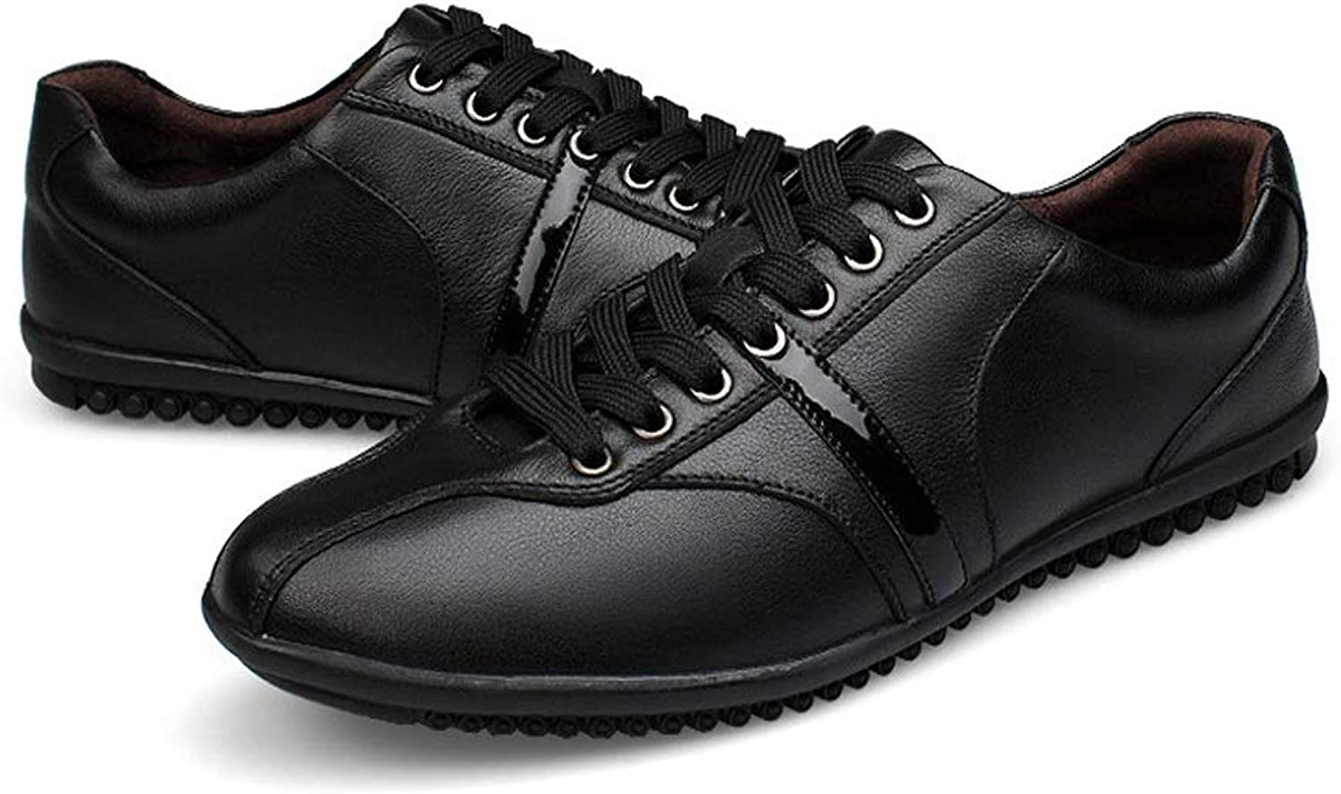 CATEDOT Men's shoes Casual Comfortable Breathable Travel Lightweight leather shoes (color   Black, Size   5UK)