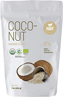 Natura Biofoods Organic Coconut Flour for baking, 1 lb, keto, gluten free, low carb, bulk, diet friendly, low glycemic, healthy