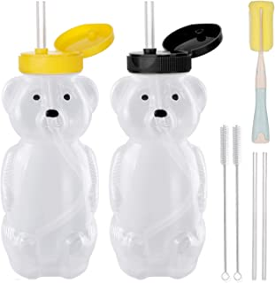 2 Pack Honey Bear Straw Cups with 4 Flexible Straws & Cleaning Tools(2 Straw Brushes &1 Bottle Brush), 8-Ounce Therapy Sippy Bottles for Speech and Feeding Training, Leak-Proof & Food-Grade & BPA Free