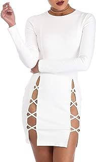 TOB Women's Sexy Summer Bodycon Long Sleeves Lace up Mini Club Dress