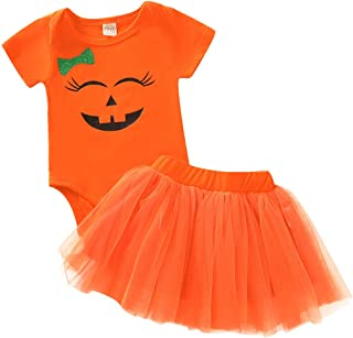 Baby Girl Halloween Costumes Pumpkin Smiles Short Sleeve Bodysuit Tutu Skirt Bowknot Dress Outfits