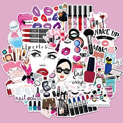 WWLL 100 pegatinas cosméticas lápiz labial crema de ojos decoración habitación pegatinas maleta pegatinas niña rosa