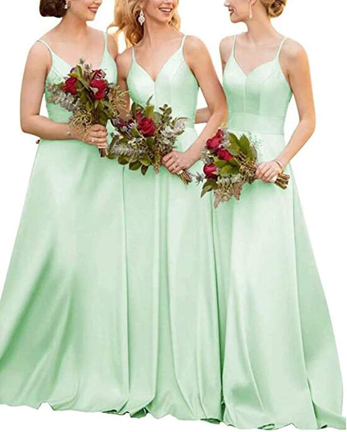 Alilith.Z Sexy Spaghetti Strap Satin Bridesmaid Dresses Formal Prom Dresses Wedding Evening Party Gowns for Women
