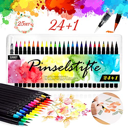 Watercolor Brush Pens Set, 24 Watercolor Markers + 1 Water Tank Brush, Art Marker Brushes with Flexible Nylon Tips Art Supplies for Adults and Kids, Artists, Calligraphy and Bullet Journal
