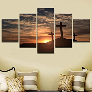 TYUIOP Modern canvas picture home decoration wall art print 5 pieces of cross mountain cross landscape poster on sunset pa...