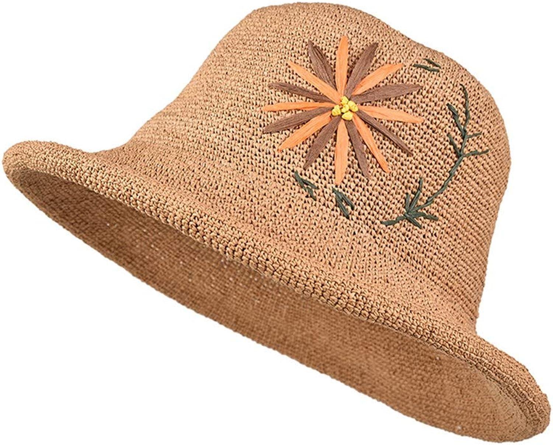 Ladies Sun Hat Beach Hats,Summer Female Straw hat Sunscreen Travel Sunshade Seaside Wild Casual Fashion hat Sun hat Braided Flower Curling