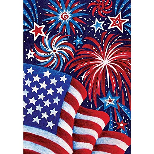 KKMMZ 5D American Flag Fireworks Full Diamond Painting Cross Stitch Kits Art Gift Scenic 3D Paint by Diamonds 11.8 X 15.8 Inch