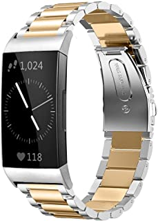 Shangpule Compatible for Fitbit Charge 3 and Charge3 SE Bands, Stainless Steel Metal Replacement Strap Bracelet Wrist Band Accessories for Charge 3 Smart Watch Women Man Large Small (Silver + Gold)
