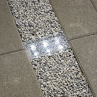 """LampLust Solar 12 LED Clear Glass Brick Light - in 3 Great Colors - 8"""" x 4"""""""
