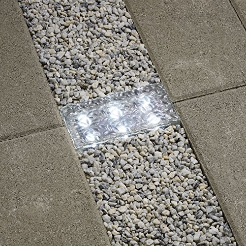 8x4 Solar Brick Landscape Light, 6 Cool White LEDs, Textured Glass Rectangle Paver, Waterproof, Outdoor Use, No Wires Easy to Install - Rechargeable Battery Included