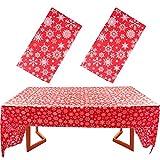 2pcs Mantel Mesa Navidad 140x274cm Cubierta de Mesa Mantel Rojo con Copos de Nieve Plástico Rectangular para Fiesta de Navidad Banquetes Cenas Boda Bautizo Cumpleaños