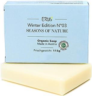 ERUi Bio Gesichtsseife Winter, Naturseife für trockene, unreine und empfindliche Haut - Ohne Palmöl, Zusätze & Duftstoffe - Handgemachte biologisch abbaubare Naturkosmetik Bio Seife 1 x 115 g