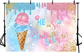 MEHOFOTO Ice Cream Gender Reveal Photo Studio Background He or She Baby Shower Pink and Blue Gold Glitter Dots Party Decorations Banner Watercolour Photography Backdrops for Picture 7ftx5ft
