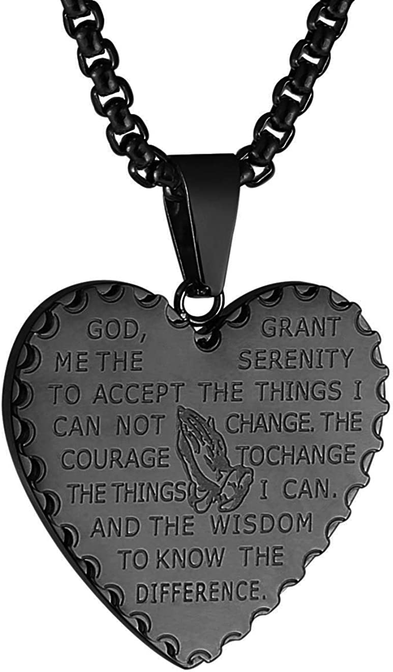 HZMAN Bible Verse Prayer Necklace Christian Jewelry Gold Stainless Steel Praying Hands Coin Medal Pendant
