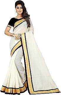 Effigy onlinehub Women's Chanderi Cotton Silk Saree with Blouse Piece (wedding border)