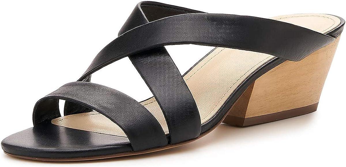 YDN Women Stylish Cross Strappy Stacked Chunky Low Heel Slide Mule Sandals Chic Dressy Open Toe Slip On Slipper Summer Shoes