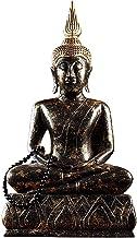 Thai Buddha Statue Thai Black Gold Sitting Buddha Statue Wooden Buddha Statue Decorative Figurine Zen Sculpture Decoration...