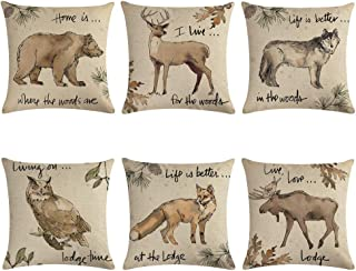 """ULOVE LOVE YOURSELF Vintage Wildlife Throw Pillow Covers Moose Owl Elk Fox Bear Wolf Pillow Cases Wild Animals in Forest Mountain Decorative Cushion Covers 18""""×18"""",Set of 6(Wildlife)"""