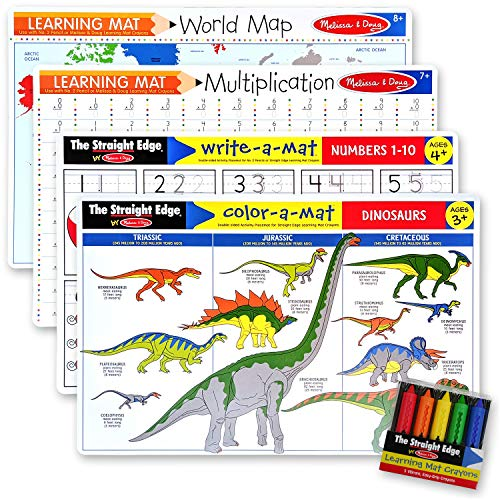 Melissa & Doug Multiplication, Dinosaurs, Numbers 1-10, World Map: Learning Mat Bundle with Compatible M&D Crayon Bundle with 1 Theme Compatible M&D Scratch Art Mini-Pad (05008)