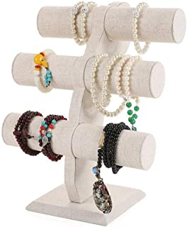 KJRJSS Jewelry Velvet Display T-Bar Stand - Bracelet Holder 3 Tier Jewelry Store Display Jewelry Organizer for Watches Bracelets Necklaces Decorative Chains (Color : Beige)