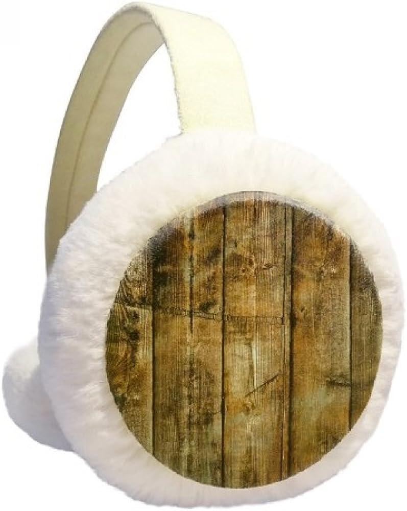 Tan Black Wood Retro Olded Irregular Winter Ear Warmer Cable Knit Furry Fleece Earmuff Outdoor