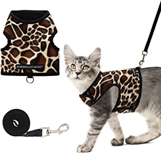 SCIROKKO Cat Harness and Leash Set - Leopard Print Escape Proof Adjustable for Outdoor Walking Jacket with Safety Buckle&#...