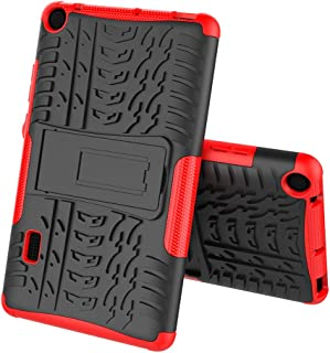 Boleyi Case for Huawei MediaPad T3 7.0, [Heavy Duty] [ Slim Hard Case] [ Shockproof] Rugged Tough Dual Layer Armor Case With stand function -Red