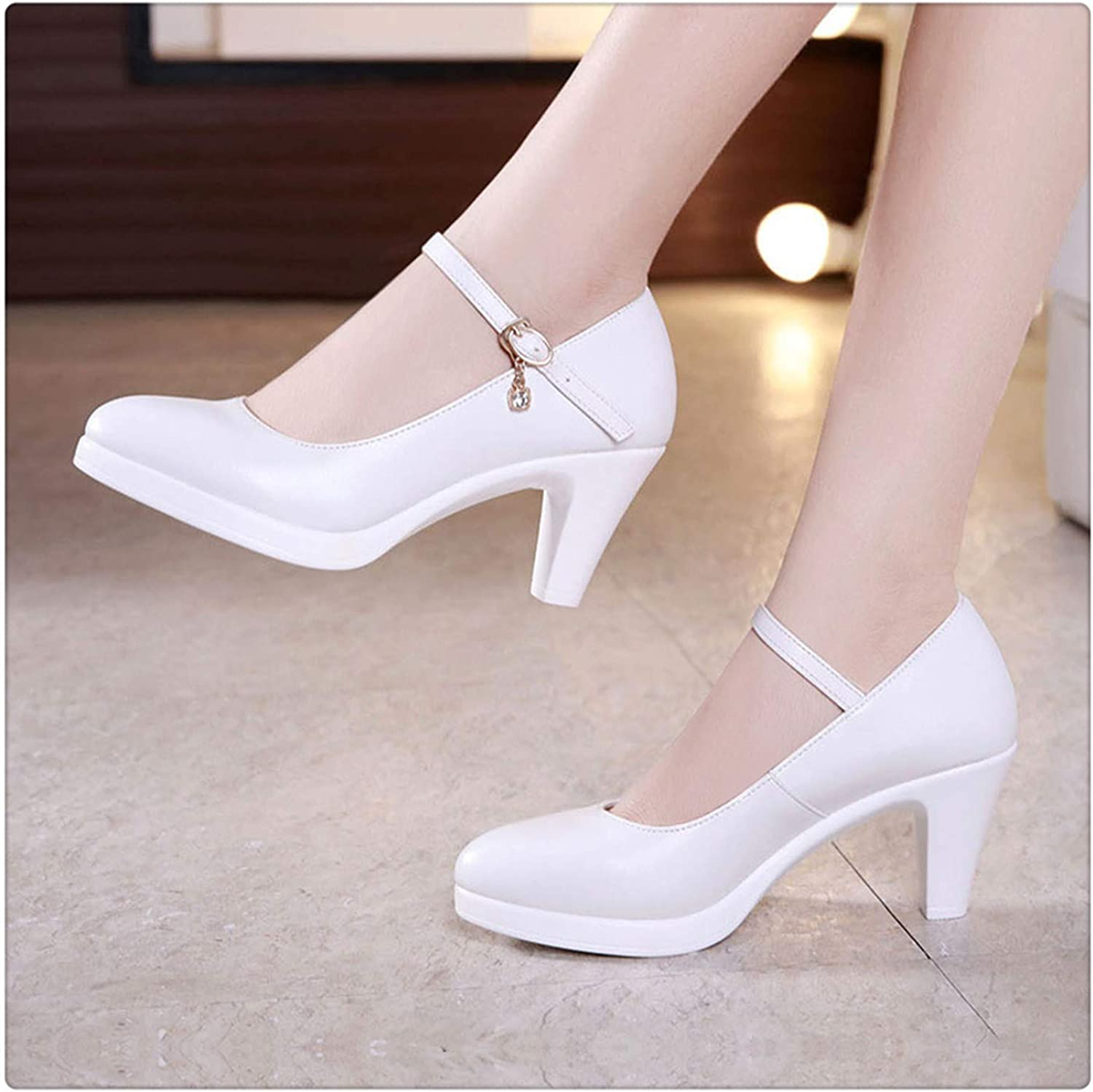GLOPY& Pointed Toe Women Genuine Leather shoes for Wedding Women Platform Pumps with High Heels shoes for Office Work shoes White6CM 3.5