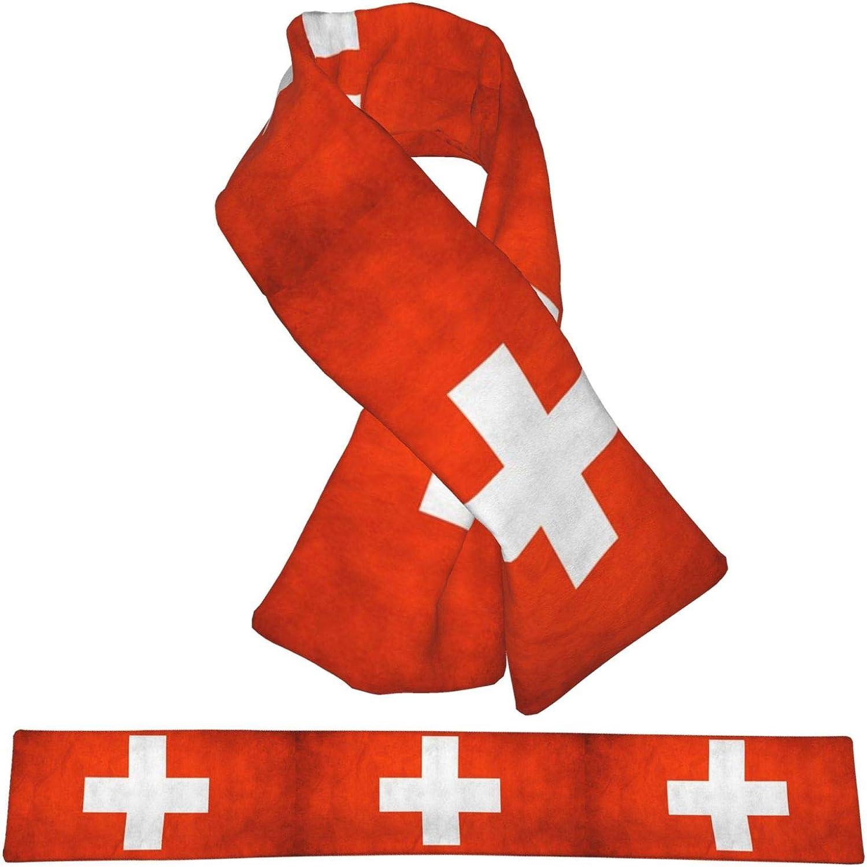 Winter Scarfs Vintage Switzerland Flag Scarves Wraps Neck Warmer Flannel Winter Cross Tie Scarves