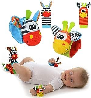 Cute Animal Infantil 4pcs (2pcs de la cintura y 2pcs calcetines) Suave muñeca Bell correa traqueteos y calcetines de pie Finder conjunto de desarrollo de juguetes blandos para niños by Funky Planet