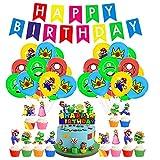Cumpleaños Super Mario Globos Decoraciones Super Mario Bros Cumpleaños Banner Mario Bros Decoraciones para tartas para niños Cumpleaños Decoraciones para fiestas temáticas