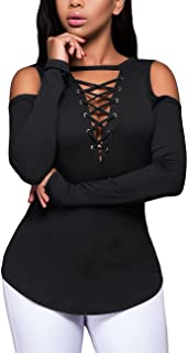 Women's Long Sleeve Sexy Deep V Neck Blouse Cold Shoulder Ribbed Stretchy Front Top T Shirt