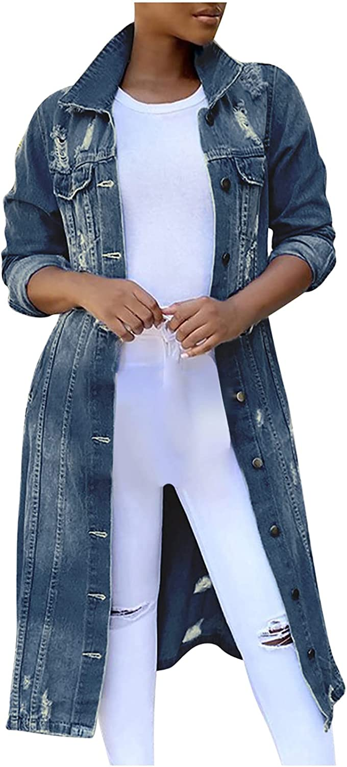 Women's Ripped Distressed Maxi Denim Jacket Classic Blue Destroyed Long Jean Trench Coat Outwear