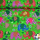 MAGAM-Stoffe Julia Bunte Elefanten Kinder Baumwollstoff
